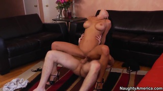 Slutty brunette chick Jessica Jaymes is hotly fucking her big dick boyfriend Danny Wylde on the floor at her_place. image