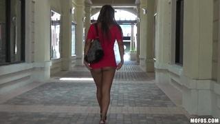 Image: Buxom Jackie Cruz masturbates her sweet hole on the road with her favorite dildo