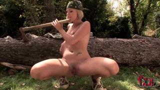 Zuzana Z. takes huge wooden hatchet helve in her innocent asshole image