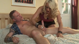 Sexy blonde MILF Stormy Daniels sucks dick properly! image