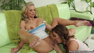 Two amazing lesbians Phoenix Marie and Ryan Keely lick pussies image