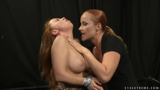 Image: Two lesbians posing featuring Katy Parker