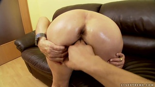 Blonde granny with hairy pussy Effie plays with young boyfriend in the POV scene image