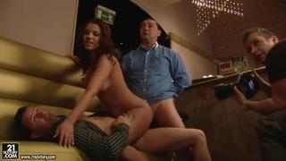 Angel Rivas pleasures horny dudes in the bar image