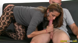Image: Hot chick Kiki Taylor is fucking in her pantyhose