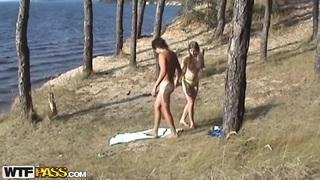 Image: Voyeur spy camera caught teen Angelina fucking with her boyfriend's best friend on the beach