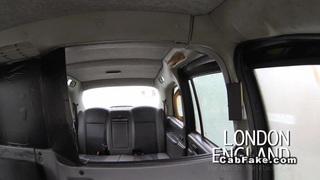 Image: Busty British ebony interracial fucked in fake taxi