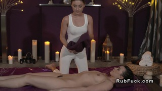 Brunette lesbian licks masseuse lesbians massage image