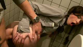 Tanata in public toilet fuck with a hot girl and a horny guy image