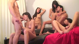 Berta & Lerok & Eva Dark & Lucille & Nora & Vicktoria Tiffany in alluring chicks in a hot college sex video image