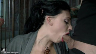 Hot Aletta Ocean alternately pleasing two cocks_with her simmering mouth image