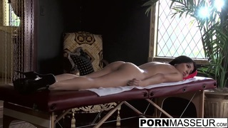 Obedient Megan gets her big butt rubbed by Billy the masseur image