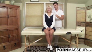 Blonde Kayla gags on big uncut dick after boob massage image