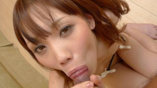 Ageha Kinashita rims a hairy ass before she sucks a dick and has her furry muff pounded and left... image
