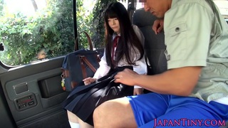 Cumswallowing asian schoolgirl in the car image