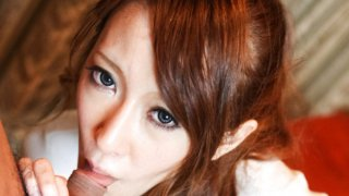 Mai Shirosaki gets caught playing with her pussy and is given a big dick to use instead image