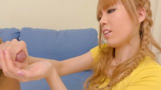 Image: Kinky Sakura Hime turns the tables on her fuck buddy by jerking his cock and stuffing his ass...
