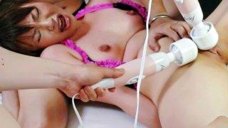 Four guys have a blast using vibrators on sweet Kana_Mimuras little pussy image