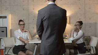 Lucky boss having threesome with his two secretaries image