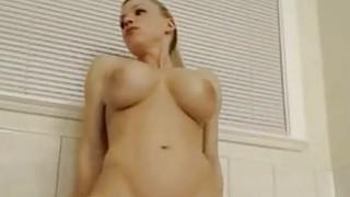 Big tittied blonde girl ride_white dildo on cam image
