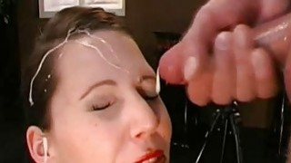 Darling gets muff and face pissing from two guys image