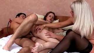 Teen couple does 3some with hot mom image