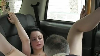 Image: British amateur babe fucks in socks in fake taxi