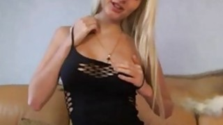 Busty blondie in sexy black lingerie teasing on cam image