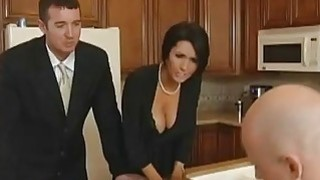 Big boobed brunette MILF fucks her new husbands gifted son image