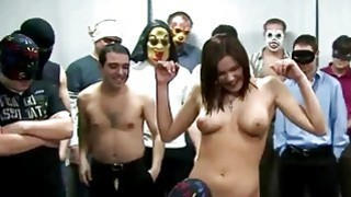 Image: Busty babe gets facial and gangbanged