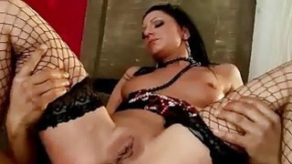Brunette in fishnet stockings gets her ass driled image