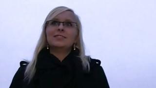 Blonde gets cunt creampie outdoor pov image