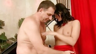 Image: Old man fucking gorgeous young brunette