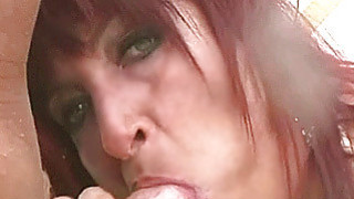 Image: Busty amateur Milf outdoor action with cum in mout