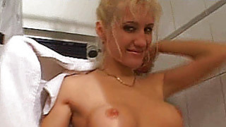 Busty amateur girlfriend sucks and_fucks in the ba image