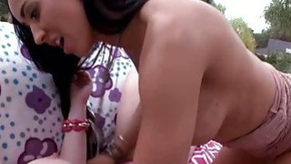 Stepmom Isis Love threesome sex with teen couple outdoors image