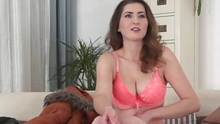 Busty amateur toys and fucks on casting_interview euro image