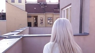 Blonde gives blowjob on roof top pov image