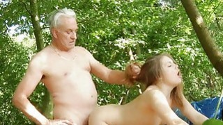 Oldman disciplines young girl with his old dick image