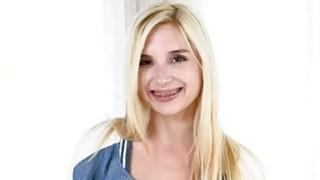 Very slim blondie teen Piper Perri pussy nailed by big cock image
