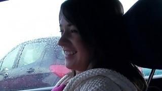 Brunette amateur babe_bangs in car in public image
