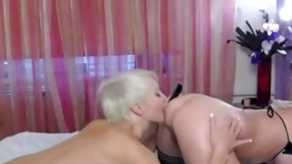 Image: Lesbian masturbation with blue sex toy on webcam