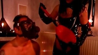 Slave Wears Gasmask_And_Gets Tortured By Domina image