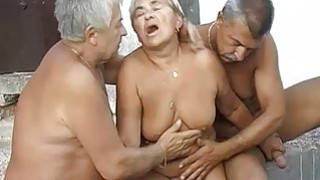 Granny fucking and masturbating with two grandpa image