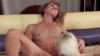Image: Hot granny and sexy young blonde have lesbian fun