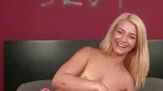 Teen Blonde Jerking Off The Thick Meat image