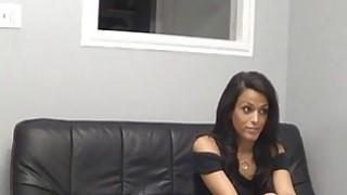 Amateur brunette blows on casting image