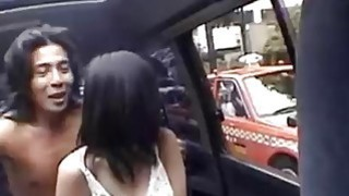 Slutty schoolgirl blows her driver and rides him like a slut image