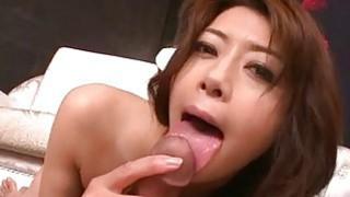 Maki Hojo rides cock and swallows fresh jizz image