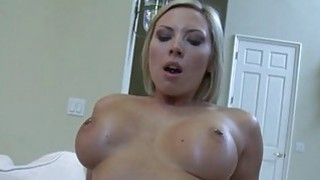 Teen cutie sucks and rides a cock too big for her image
